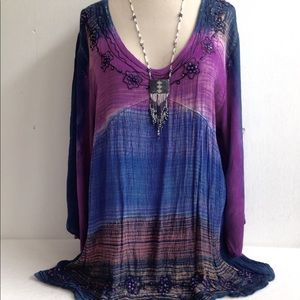 Boho Crinkle Bead Sequin Embroidered Tunic Top